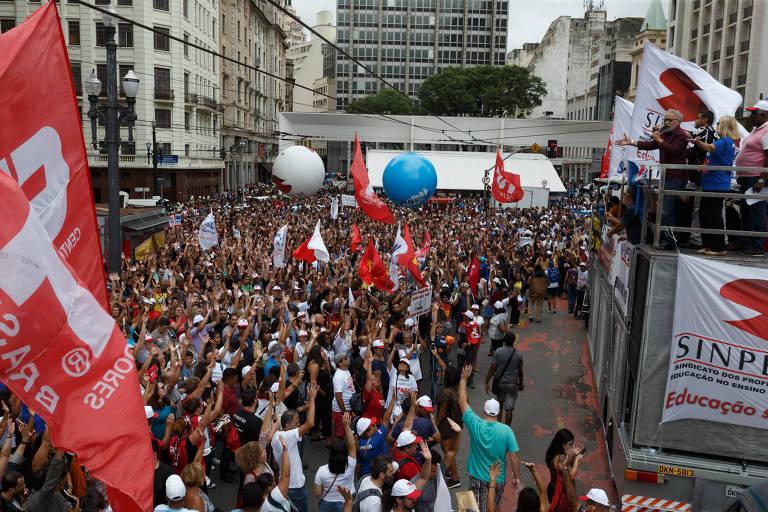 Protesto dos Servidores municipais em frente à Prefeitura de São Paulo, em fevereiro de 2019