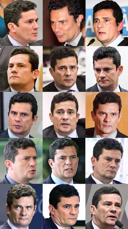 Sequência de fotos do ministro da Justiça e ex-juiz, Sergio Moro, de abril de 2016 a junho de 2019
