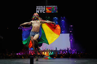 A performer dances on stage during the WorldPride 2019 Opening Ceremony, a combined celebration marking the 50th anniversary of the 1969 Stonewall riots and WorldPride 2019 in New York