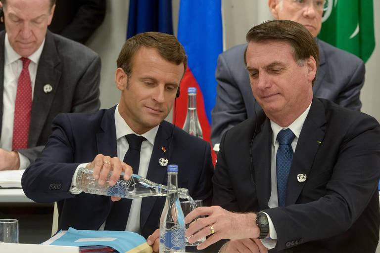 Emmanuel Macron e Jair Bolsonaro participam de reunião sobre economia digital em Osaka
