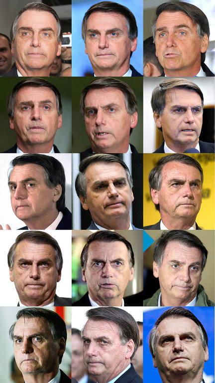 Sequência de fotos do presidente Jair Bolsonaro de abril de 2016 até junho de 2019