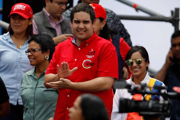 Nicolás Maduro Guerra, o 'Nicolasito', filho do ditador da Venezuela, em evento em Caracas
