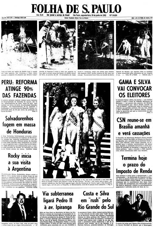 Primeira página da Folha de S.Paulo de 30 de Junho de 1969