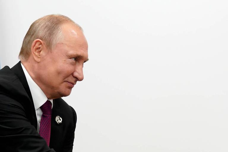 O presidente da Rússia, Vladimir Putin, durante reunião bilateral com Donald Trump, em Osaka