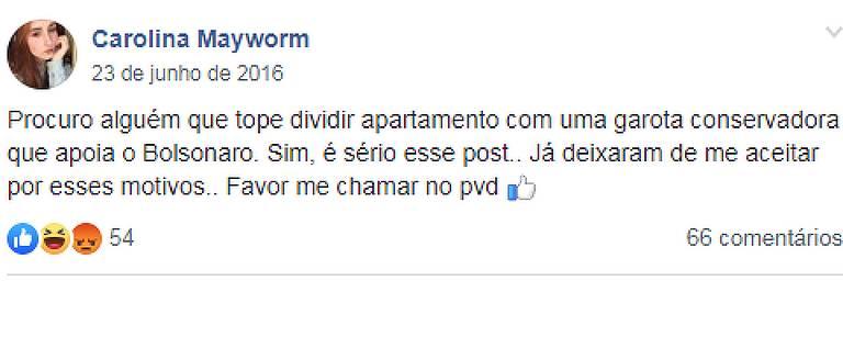 Postagem em grupo pede vaga em apartamento com moradores que votaram no presidente Jair Bolsonaro