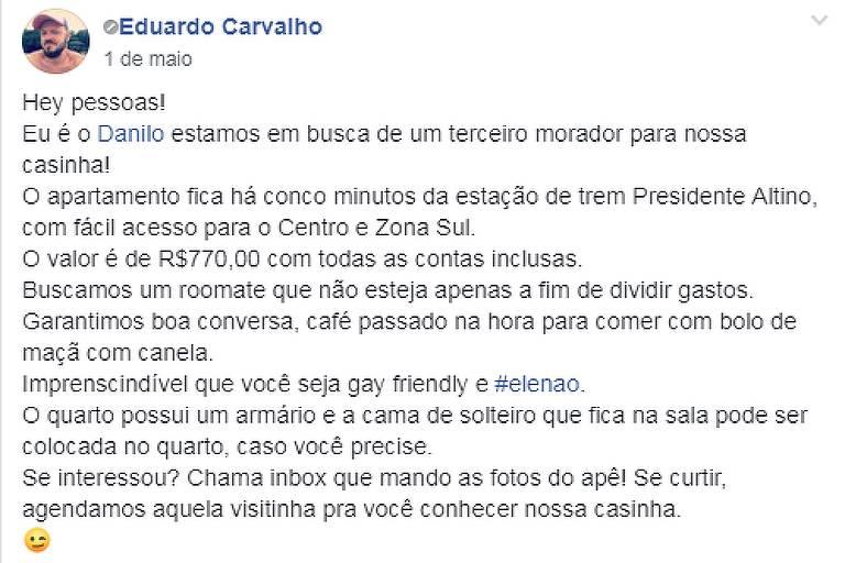 Postagem em grupo pede que novos moradores de apartamento não tenham votado no presidente Jair Bolsonaro