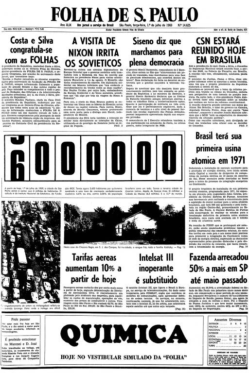 Primeira página da Folha de S.Paulo de 1 de julho de 1969