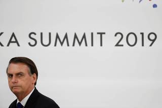 Brazil's President Jair Bolsonaro during the G20 summit in Osaka