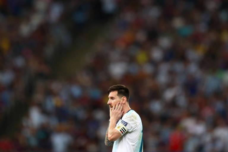 Lionel Messi durante jogo contra a Venezuela no Maracanã