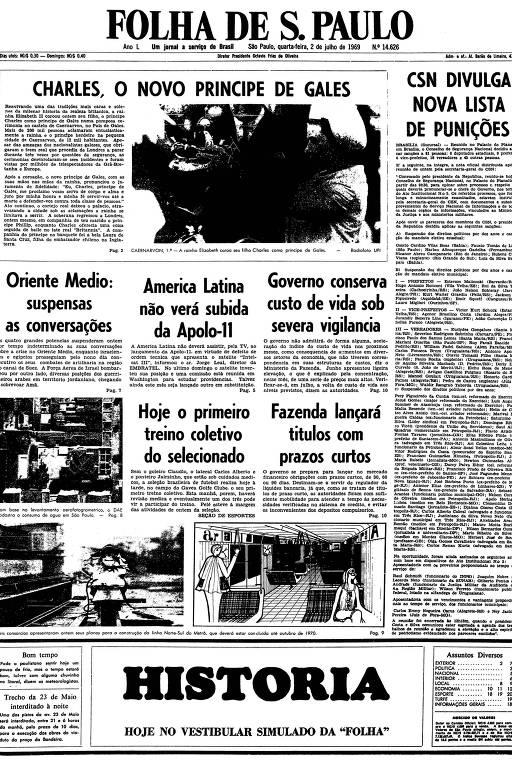 Primeira página da Folha de S.Paulo de 2 de julho de 1969