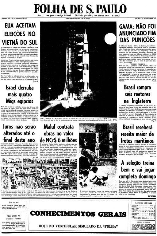 Primeira página da Folha de S.Paulo de 3 de julho de 1969
