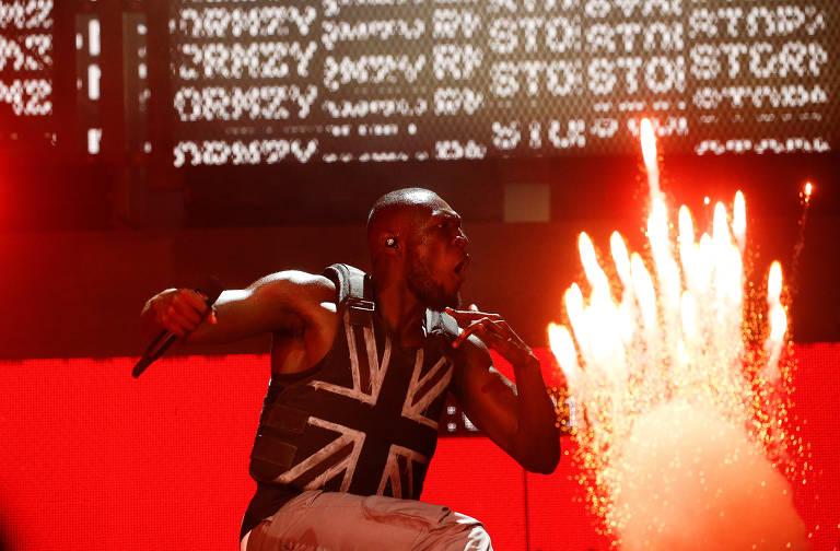 Rapper britânico Stormzy foi o headliner do festival Glastonbury na sexta (28 de junho)