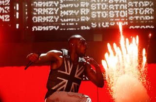 British rapper Stormzy performs the headline slot on the Pyramid stage during Glastonbury Festival in Somerset