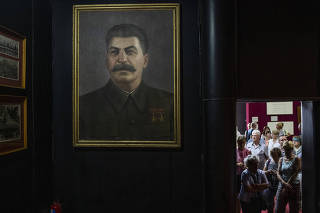 Tourists at the Joseph Stalin Museum, in the Soviet dictator's home town of Gori, Georgia.