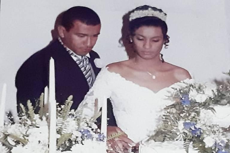 Marielle no casamento com o primeiro marido, Caco