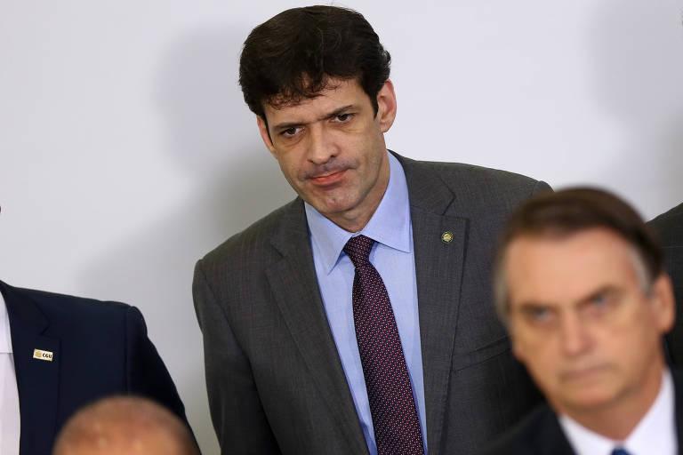 O ministro do Turismo, Marcelo Álvaro Antônio, durante evento com o presidente Jair Bolsonaro no Palácio do Planalto, em Brasília