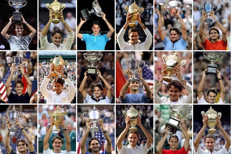 Montagem com 18 dos 20 títulos de Grand Slam de Roger Federer
