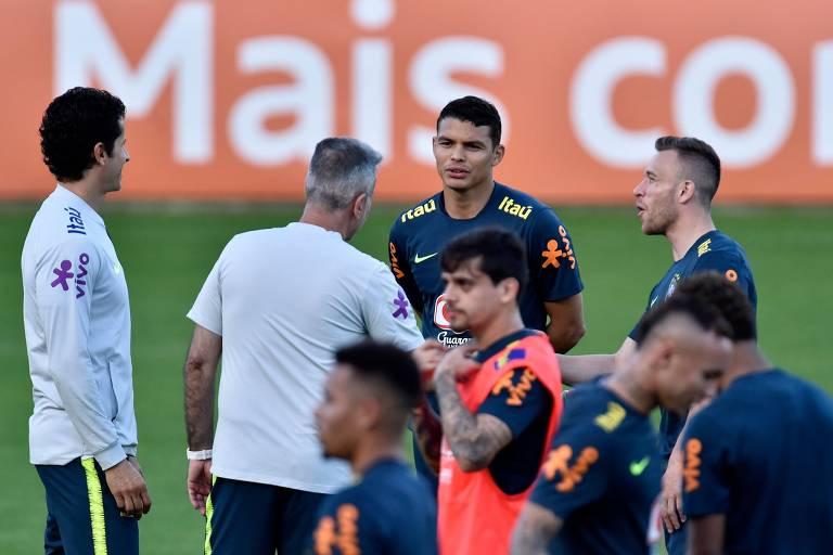 O zagueiro Thiago Silva, um dos líderes da seleção, pede atenção total com Lionel Messi