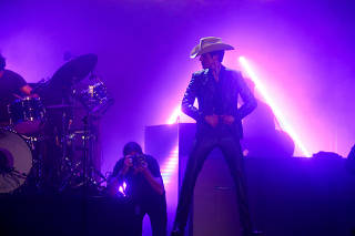 American band The Killers perform the Saturday headline slot at Glastonbury Festival in Somerset