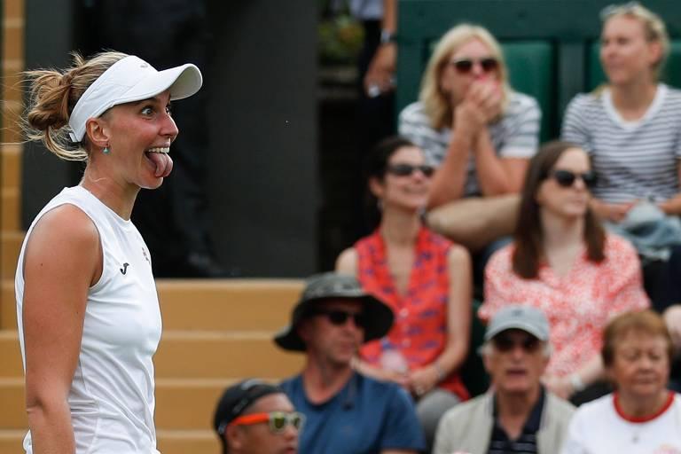 Bia comemora após vencer Muguruza na primeira rodada do torneio de Wimbledon de 2019