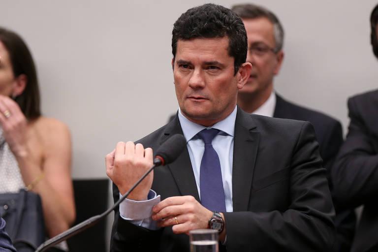 Ministro da Justiça Sérgio Moro durante depoimento prestado à CCJ da Câmara dos Deputados sobre as mensagens trocadas com procuradores da Lava Jato