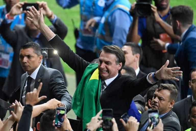 Jair Bolsonaro no Mineirão durante o intervalo do jogo entre Brasil e Argentina