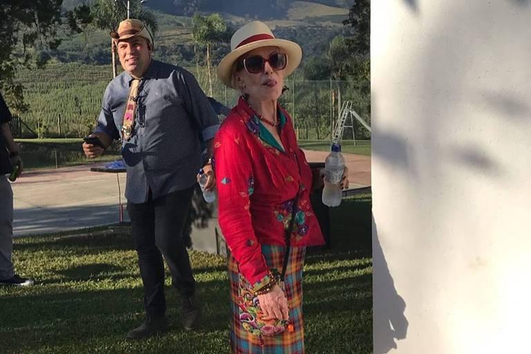 Ana Maria Braga em festa junina promovida em sua fazenda no interior de SP