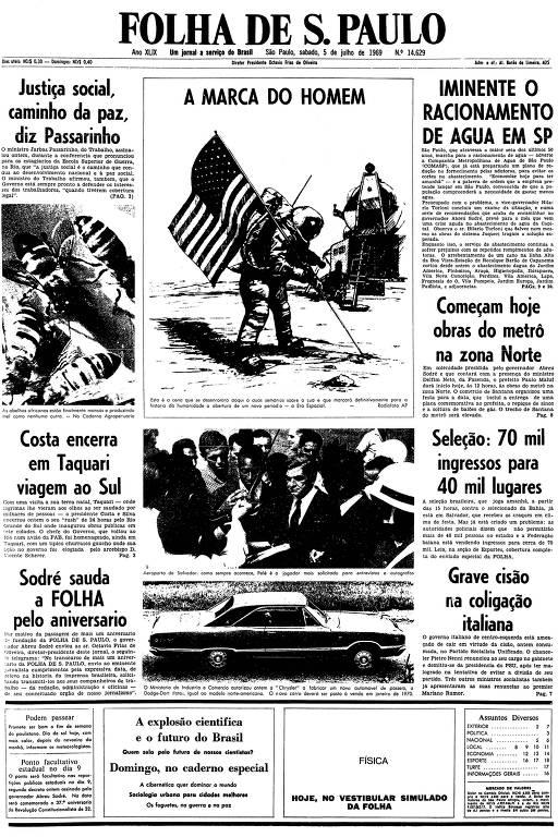 Primeira página da Folha de S.Paulo de 5 de julho de 1969