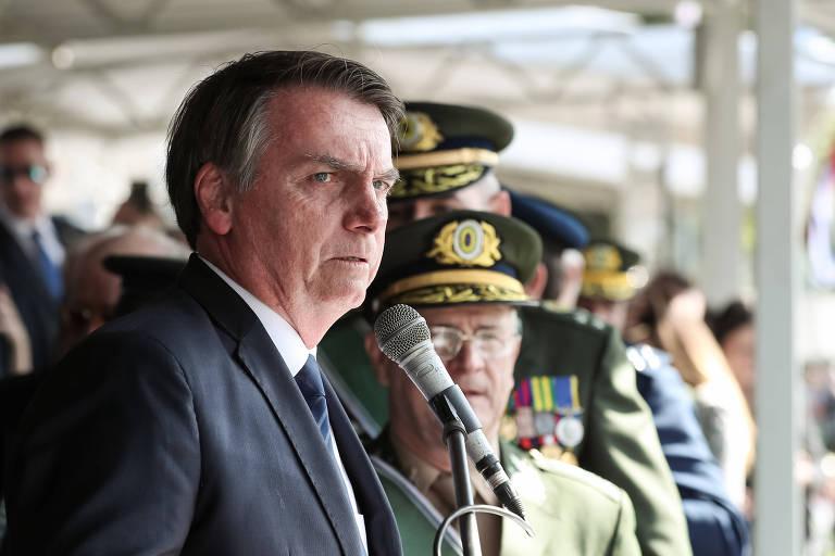 Presidente Jair Bolsonaro em cerimônia do Exército nesta quarta-feira (3), em São Paulo