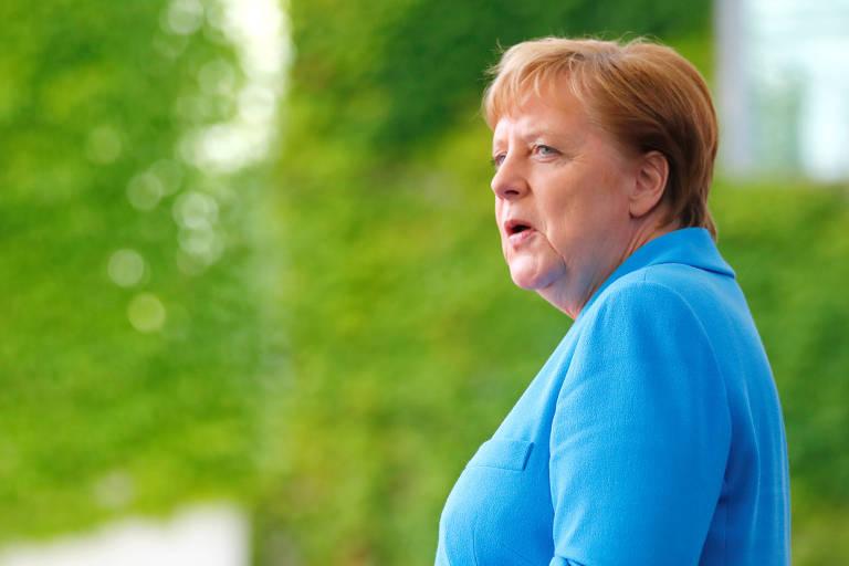 A chanceler alemã, Angela Merkel, durante visita do presidente da Irlanda a Berlin