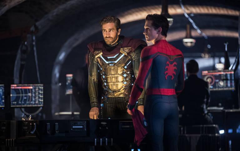 """Jake Gyllenhaal e Tom Holland em """"Homem-Aranha: Longe de Casa"""""""