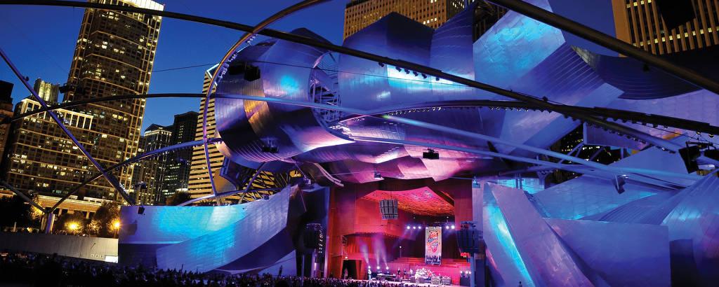 Jay Pritzker Pavilion, no Parque do Milênio, que abriga o Festival de Blues de Chicago
