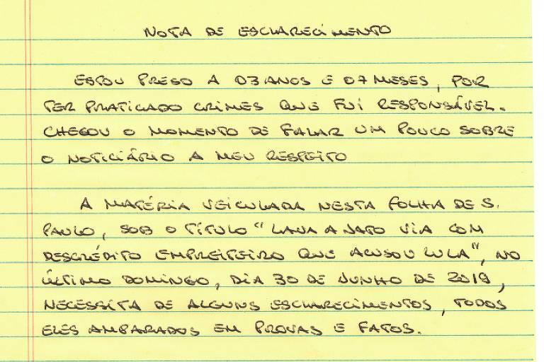 Leia trechos da carta de Léo Pinheiro
