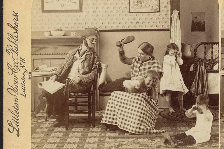 Fotografia do século 19 mostra criança apanhando