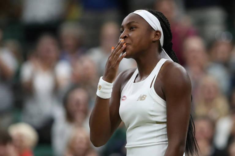 A tenista americana Cori Gauff, de 15 anos, durante partida de Wimbledon