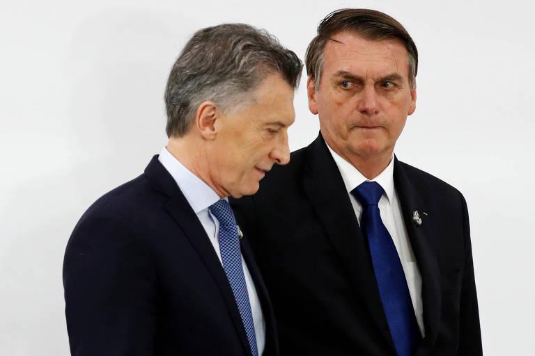 Presidente da Argentina, Mauricio Macri, com o presidente do Brasil, Jair Bolsonaro