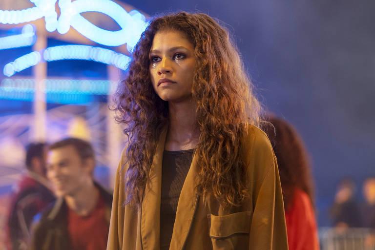 A atriz e cantora Zendaya em cena de 'Euphoria'