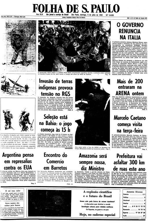 Primeira página da Folha de S.Paulo de 6 de julho de 1969