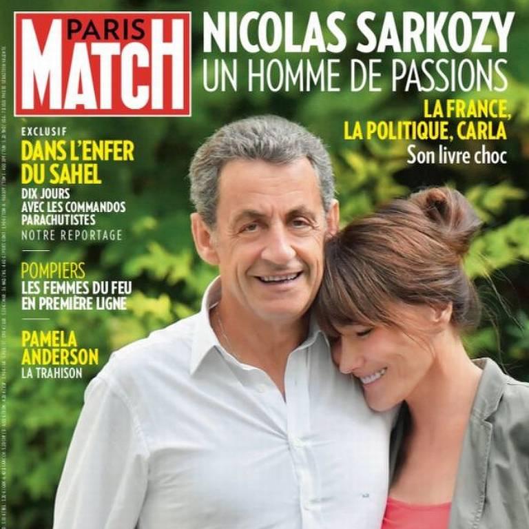 Capa da revista Paris Match, em que Sarkozy aparece mais alto do que Carla Bruni