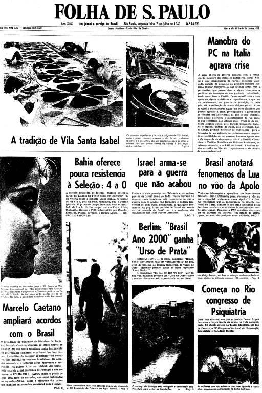 Primeira página da Folha de S.Paulo de 7 de julho de 1969