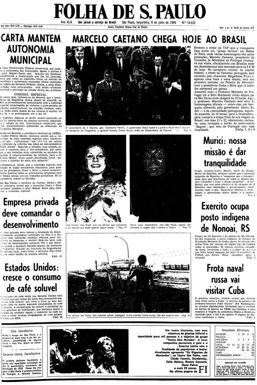 Primeira página da Folha de S.Paulo de 8 de julho de 1969
