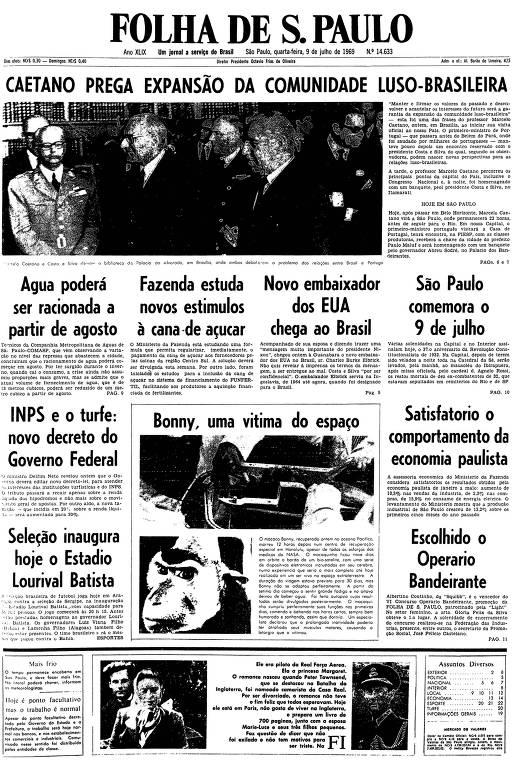 Primeira página da Folha de S.Paulo de 9 de julho de 1969