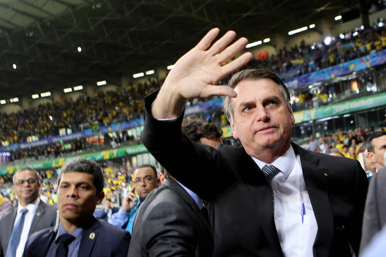 O presidente Jair Bolsonaro durante a partida entre Brasil e Argentina pela semifinal da Copa América