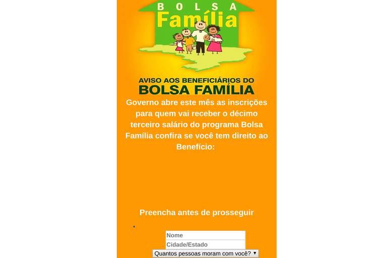 Página falsa com logo do Bolsa Família e formulário que coleta dados de nome e endereço