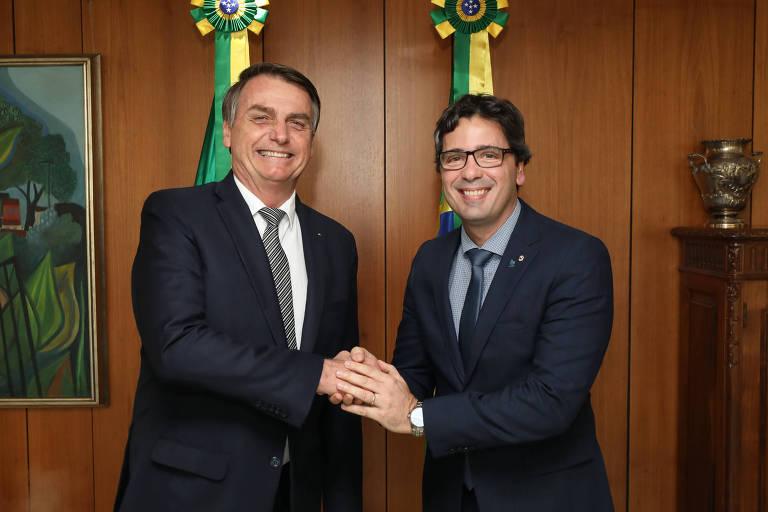 O presidente Jair Bolsonaro recebe em Brasília Fábio George Cruz da Nóbrega, presidente da ANPR (Associação Nacional dos Procuradores da República)
