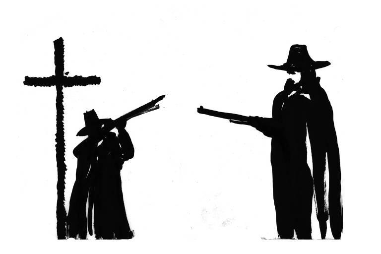 atiradores ao lado de cruz