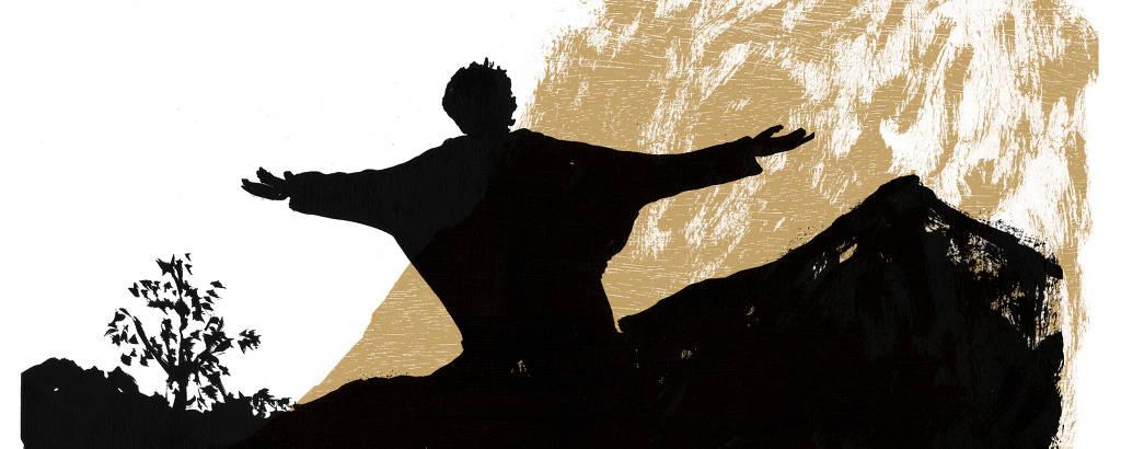sombra de homem de braços abertos no sertão