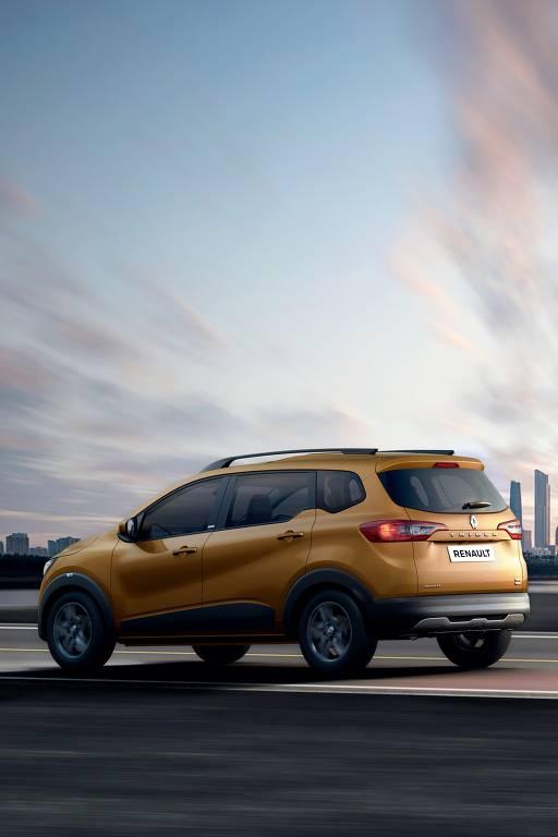Renault Triber, apresentado neste ano na Índia em tom dourado, que deve aparecer em modelos na América do Sul