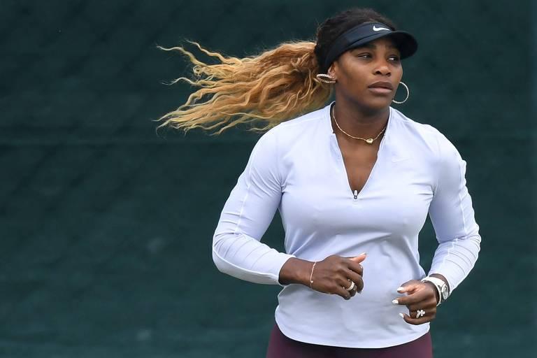 A tenista americana Serena Williams participa do torneio de Wimbledon