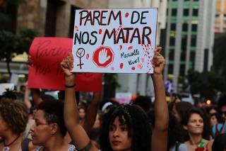 Protesto no Dia Internacional da Mulher na av. Paulista, em SP